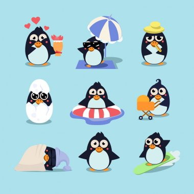 Cartoon penguins set