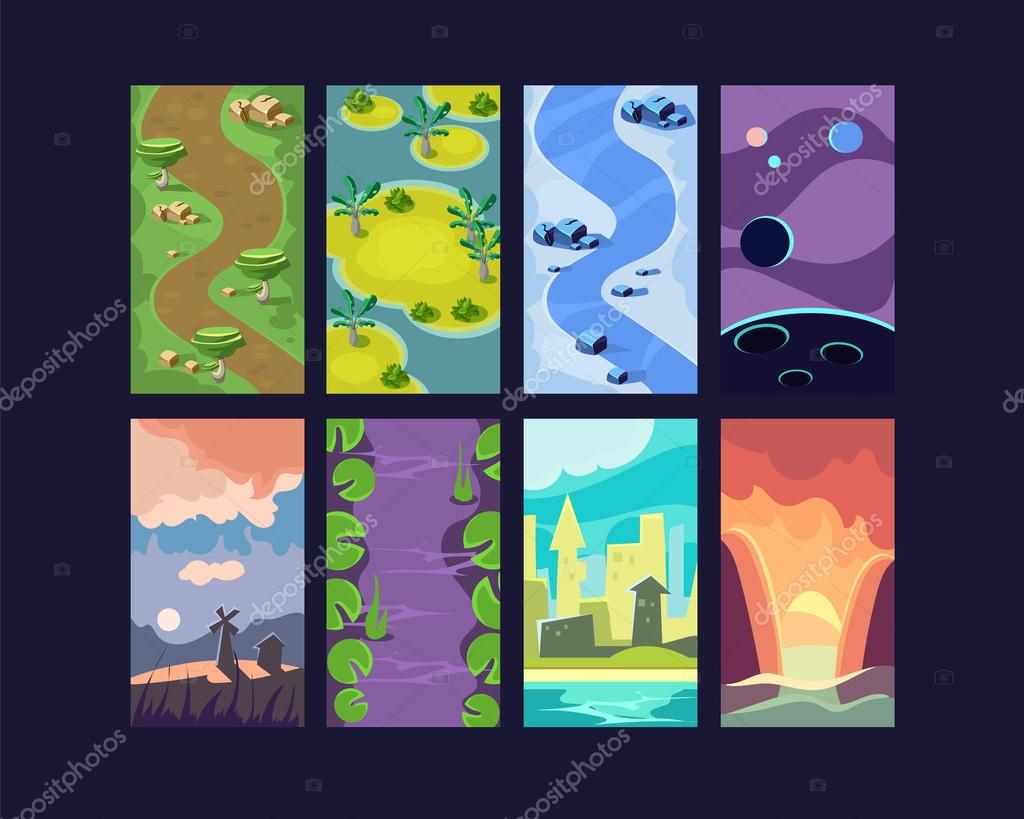 Set of seamless cartoon landscapes