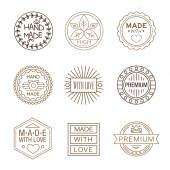 Made label in outline trendy style