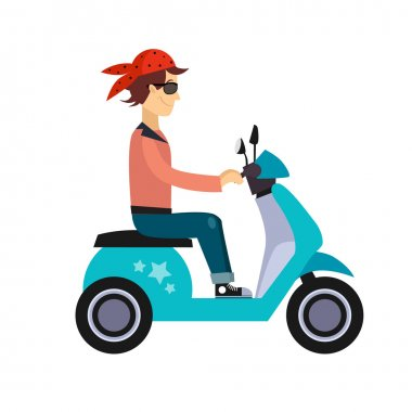 Man Characters Riding Scooters