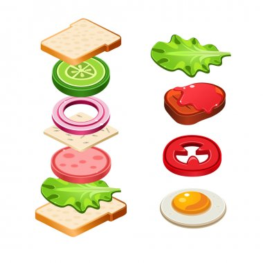 Vector Sandwich ingredients