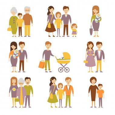 family flat icons set