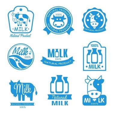 Set of blue labels