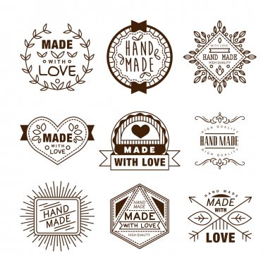 Vector hand made label in outline