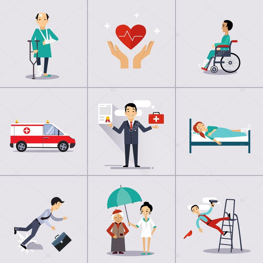 insurance character and icons template ストックベクター