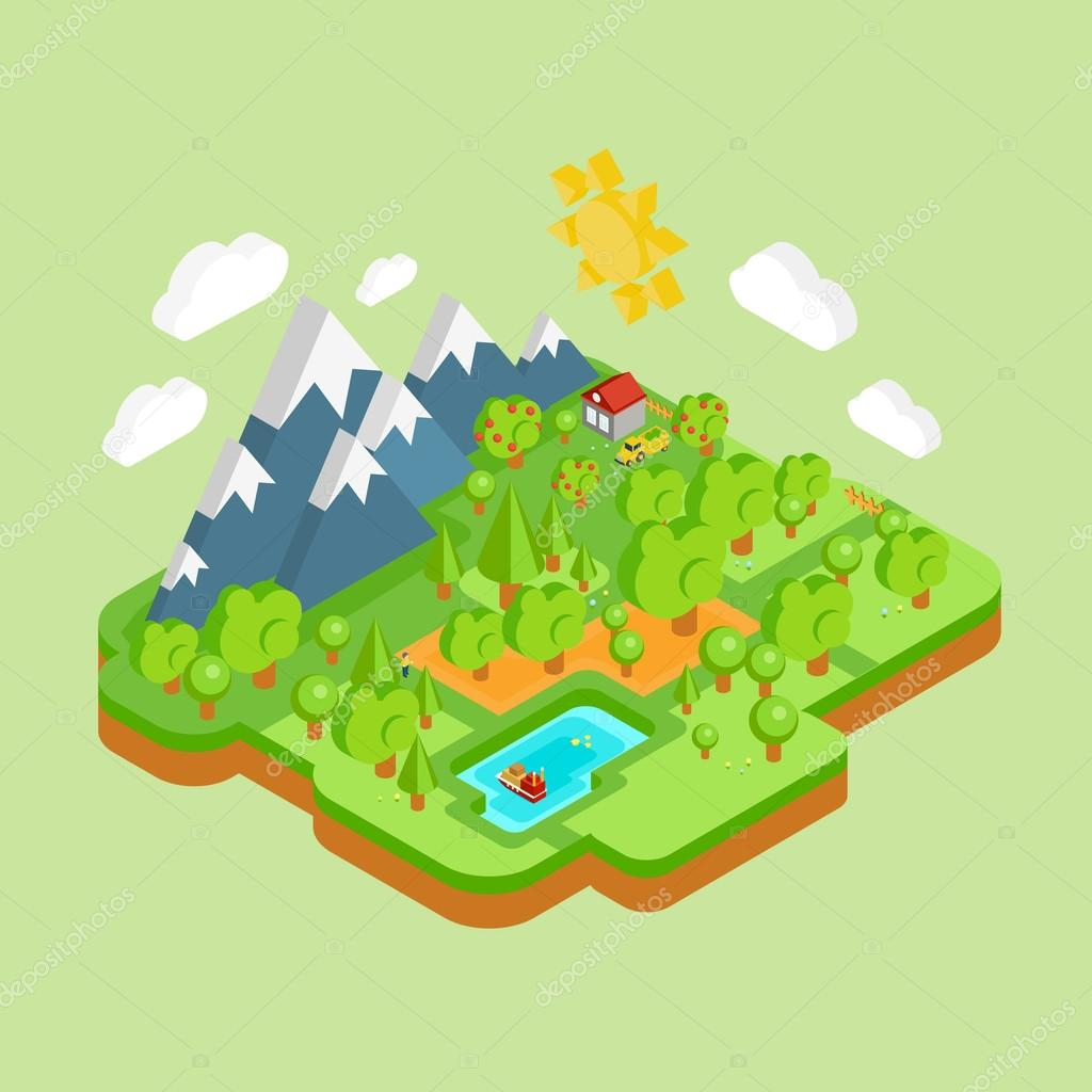 Flat landscape isometric concept