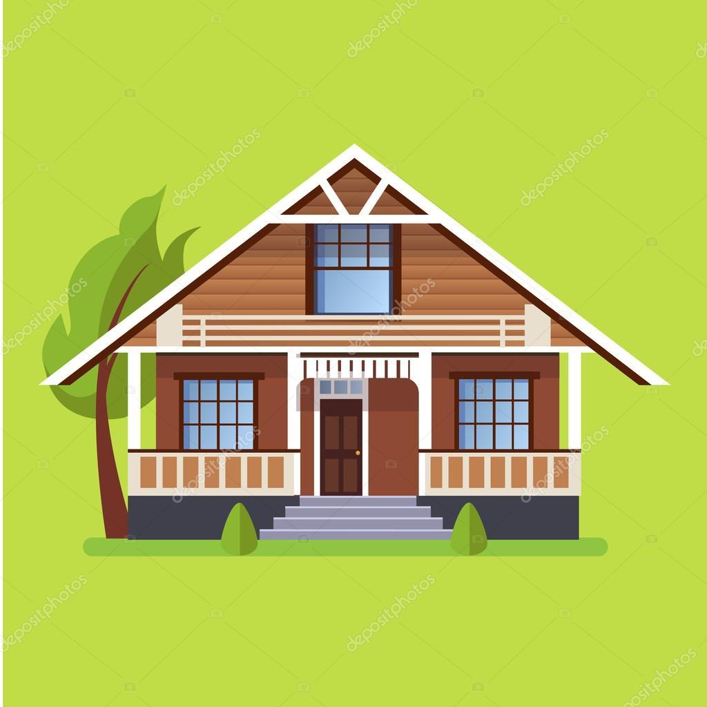 Colorida casa plano residencial vector de stock for Photos of residential houses