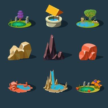 Elements Landscape ,Rocks ,Water Well ,Waterfall ,Lake, Vector I
