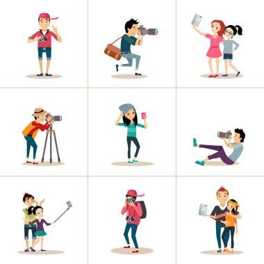Selfie icons flat set