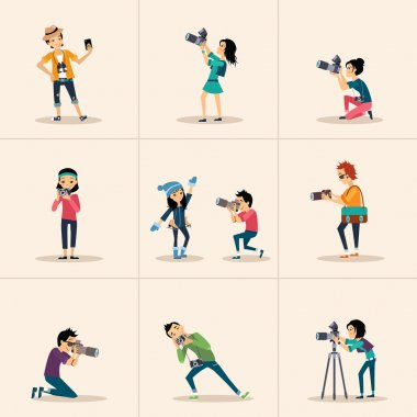 Selfie icons flat set with people taking photo portraits isolated vector illustration stock vector