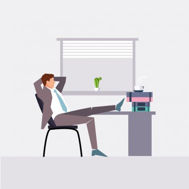 flat character design on businessman at work