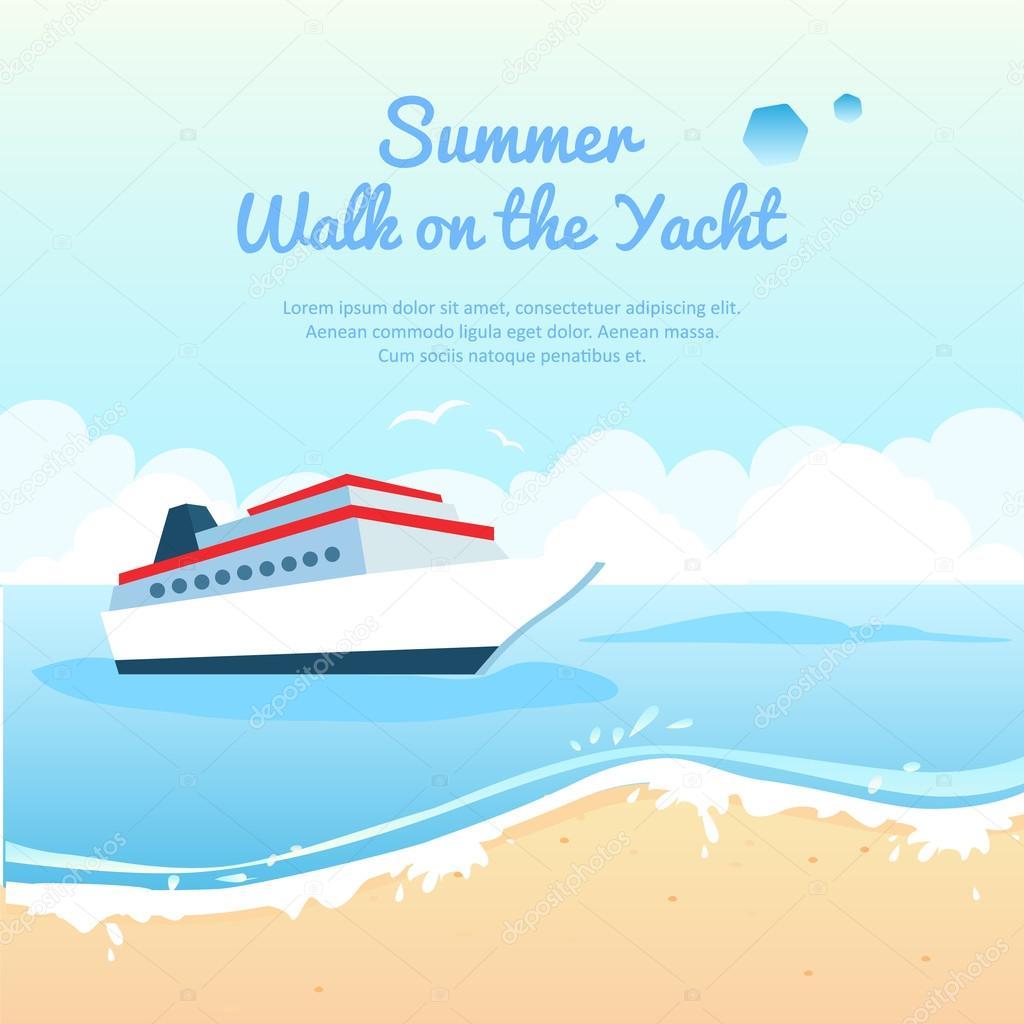 Summer travel on yacht illustration