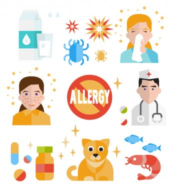 Allergy icon flat set