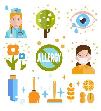 Allergy icon flat set