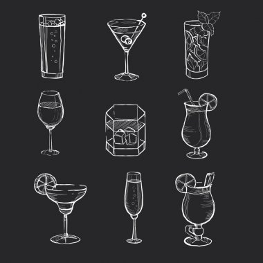 Set of different hand drawn beverages