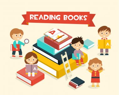 Illustration Featuring Kids Reading Books flat style stock vector