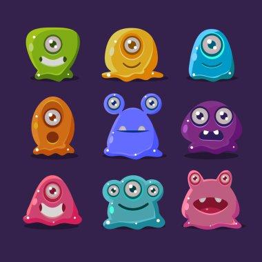 Cute cartoon jelly monsters,