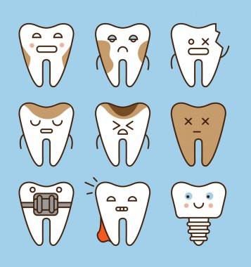 Tooth icons set,