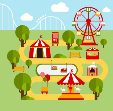 Amusement park infographic elements