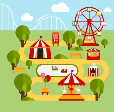 Amusement park infographic elements