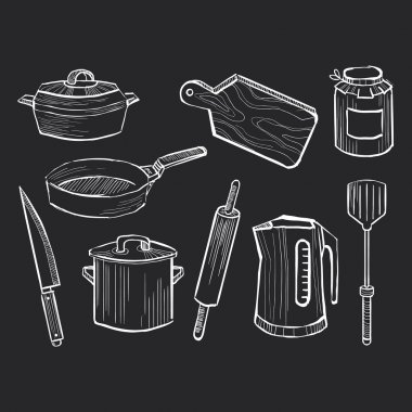 Hand drawn set of kitchen