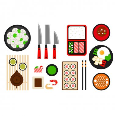 Restaurant asian cuisine Vector flat icon