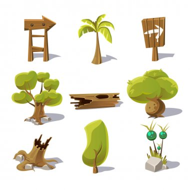 Cartoon nature elements,