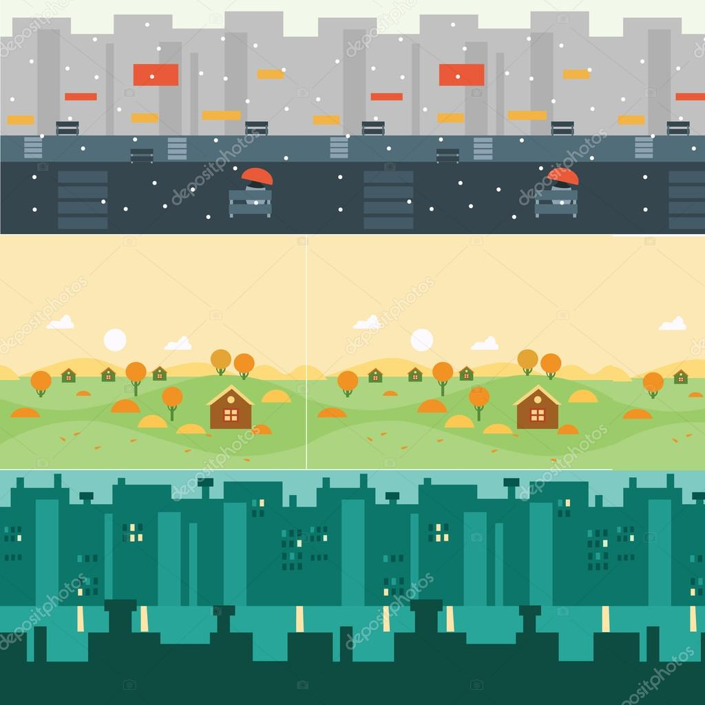 Vector landscape cartoon seamless backgrounds