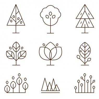 Set of graphical line trees