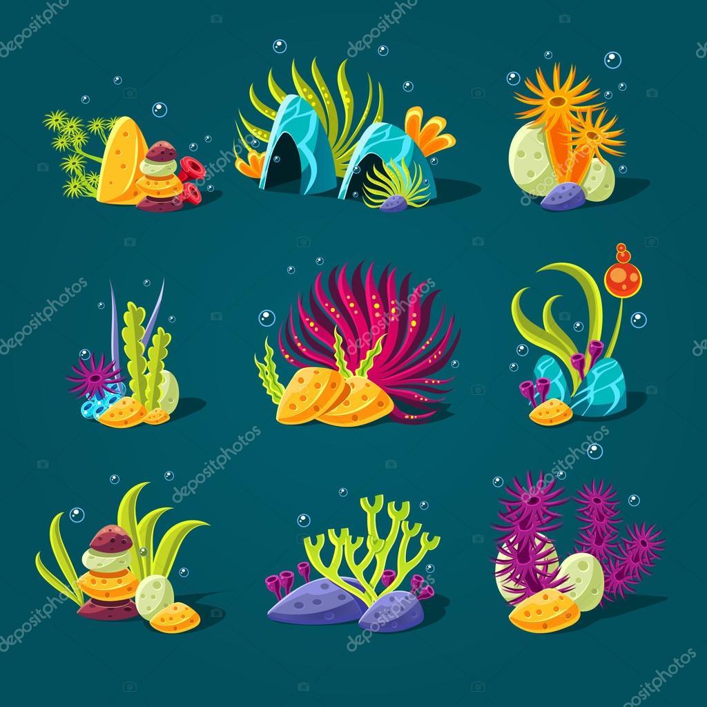 Set of cartoon underwater plants