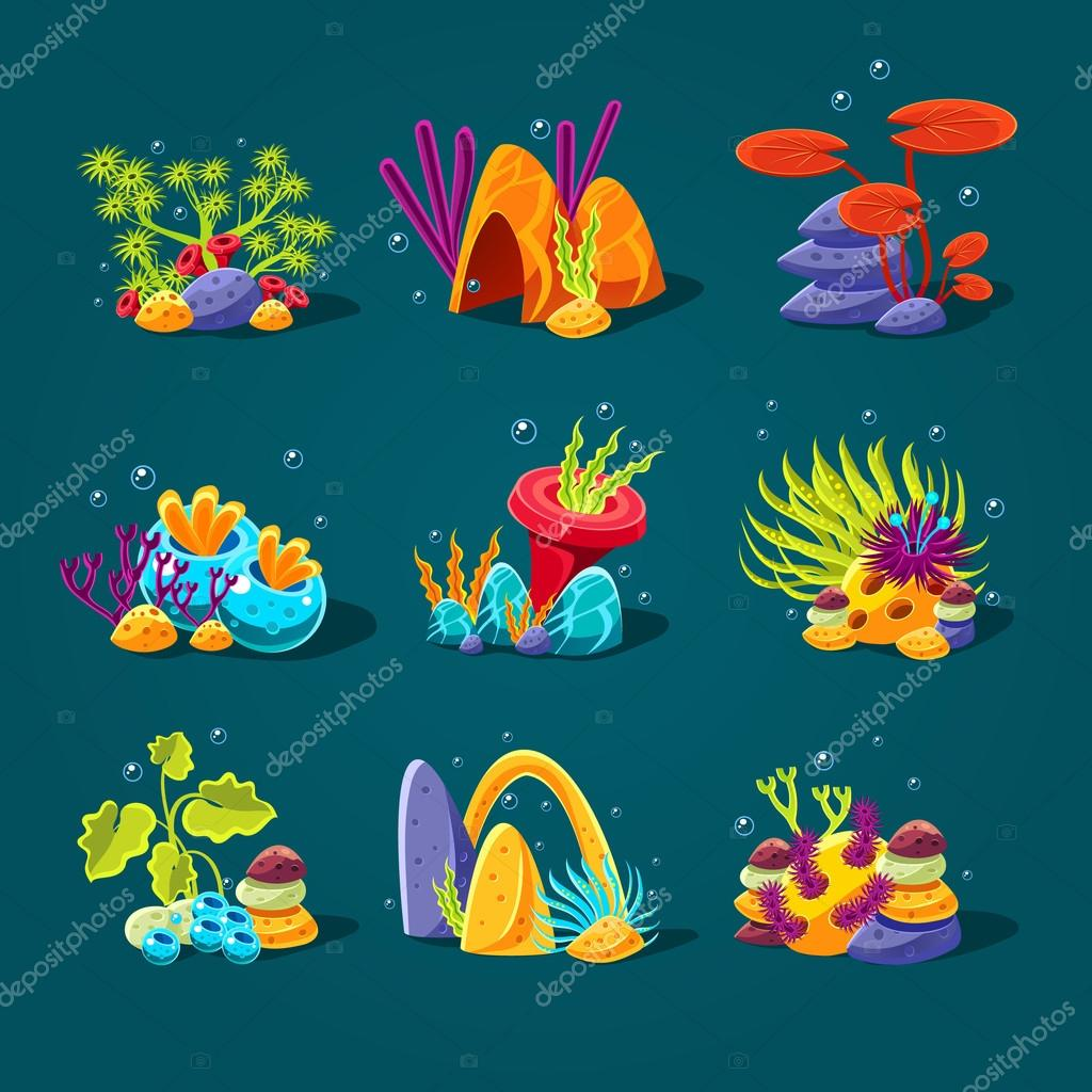 Set of cartoon underwater plants