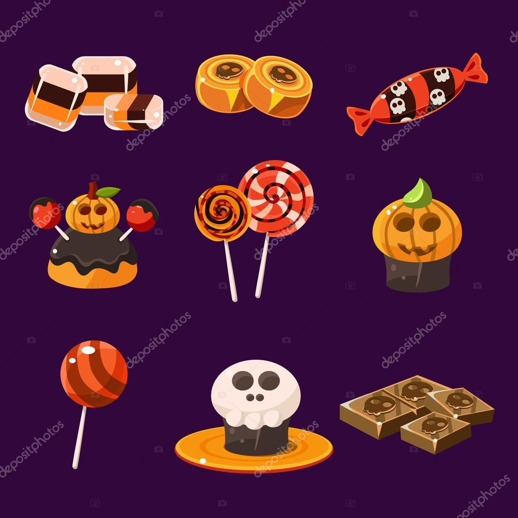 set of colorful halloween sweets and candies stock vector