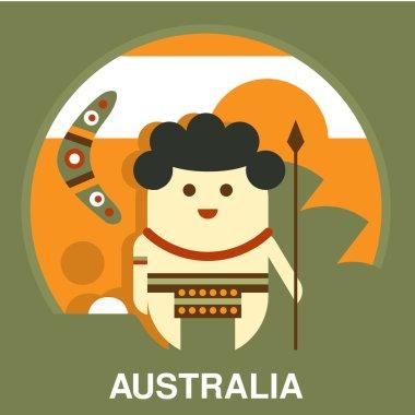 Australian Aborigine in Flat Style