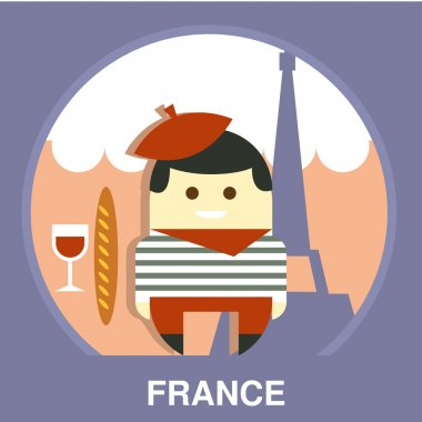 France Resident on Traditional Background