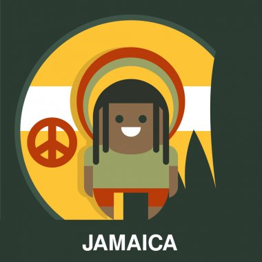 Jamaican Man in Bright Clothes Vector Illustration
