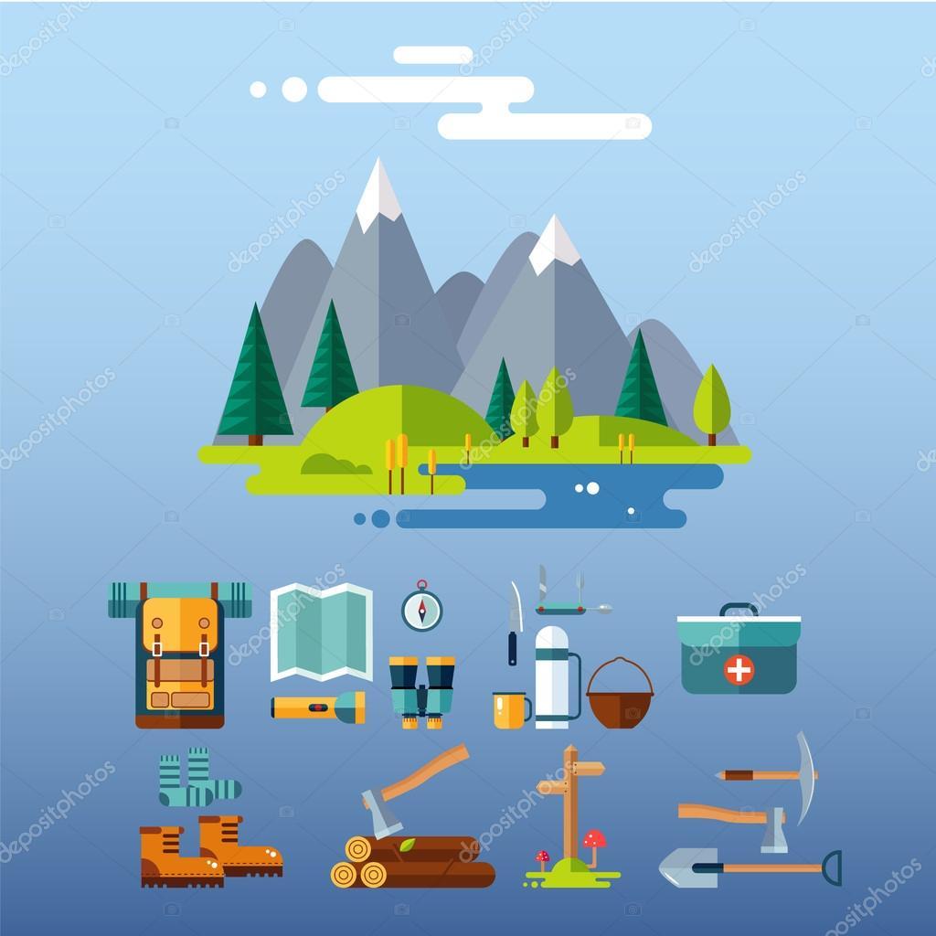 Camping Equipment Icons. Flat Design.
