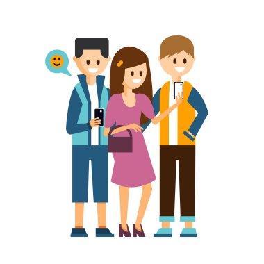 Girl and Boys Making a Selfie, Communicating in Social Media Vector Illustration