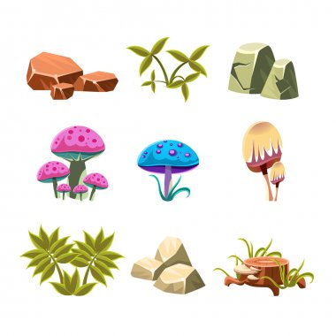 Cartoon Stones, Mushrooms and Bushes Set Vector Illustration