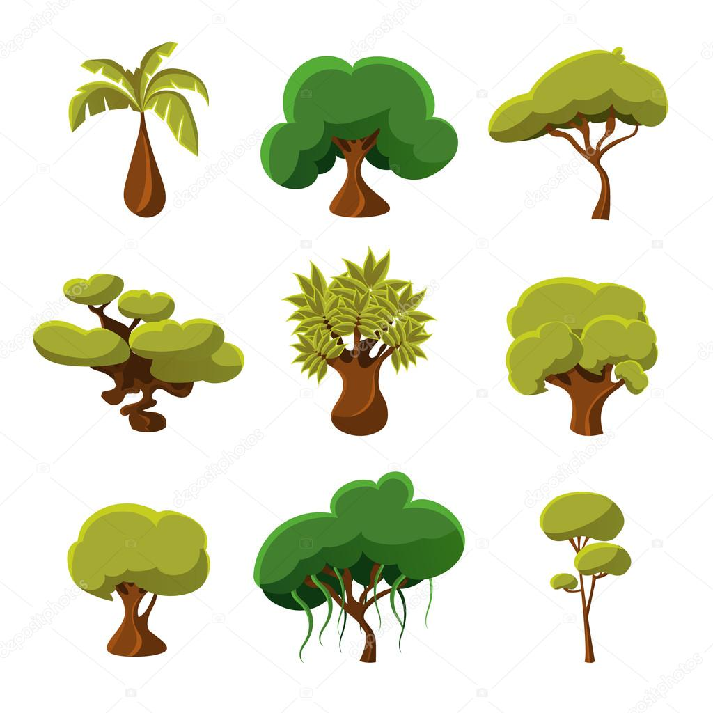 cartoon trees leaves and bushes set vector illustration u2014 stock