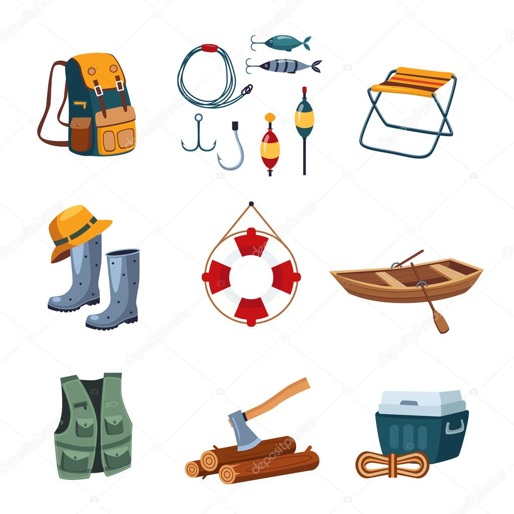 Fishing and Camping Equipment in Flat Design