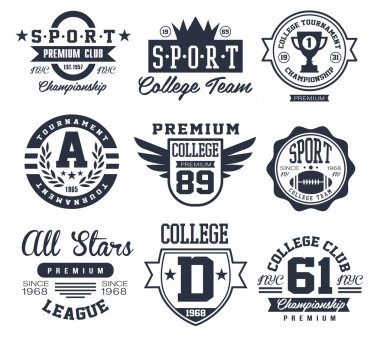 Black and White Sport Emblems, Logos Vector Illustration Set