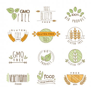 Natural Organic Labels and Icons, Vector Illustration Set