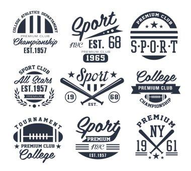 Monochrome Sport Emblems, Labels, Badges, Logos Vector Illustration Set