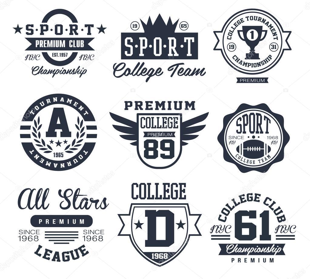Black and White Sport Emblems, Logos Vector Illustration Set