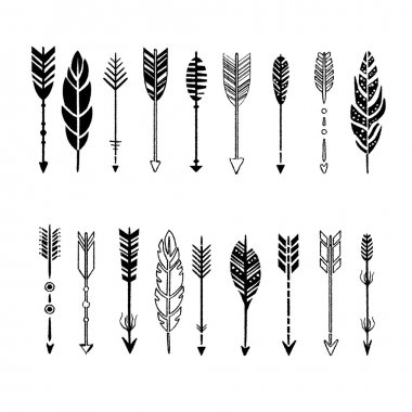 Set of Arrows, Black and White in Hand-Drawn Design, Vector Illustration