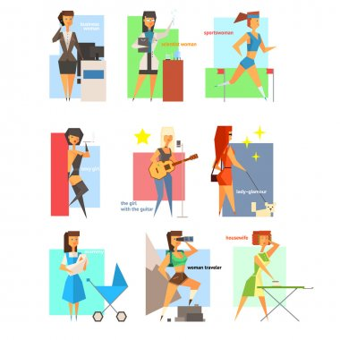 Women Lifestyle in Flat Style Vector Illustration Set