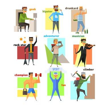 Men Lifestyle in Flat Style Vector Illustration Set
