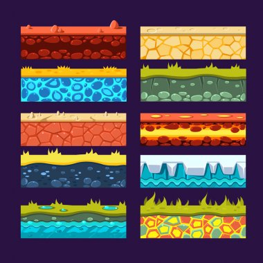 Textures for Games Platform, Set of Vector Illustrations stock vector