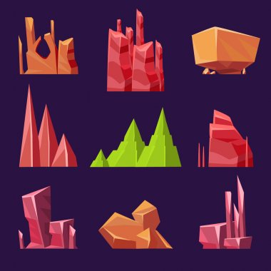 Vector Stones, Rocks and Canyons Set for Games