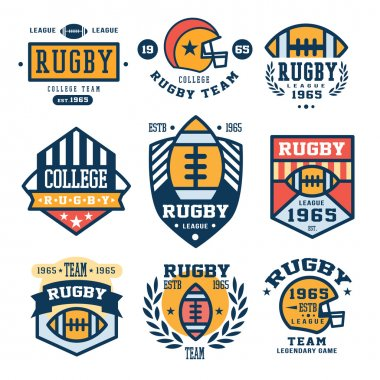 Set of Rugby Emblem Vector Illustrations in Flat Design